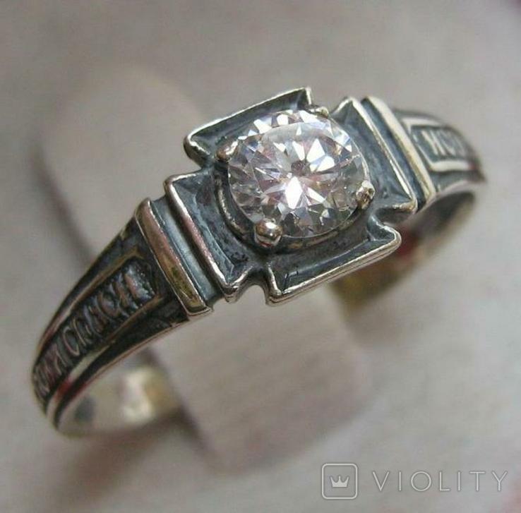 Новое Серебряное Кольцо Размер 18.25 Молитва Камень 925 проба Серебро Православное 587, фото №2