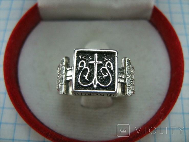 Серебряное Кольцо Перстень Размер 18.0 Проросший Крест Молитва Камни 925 проба Серебро 961, фото №3