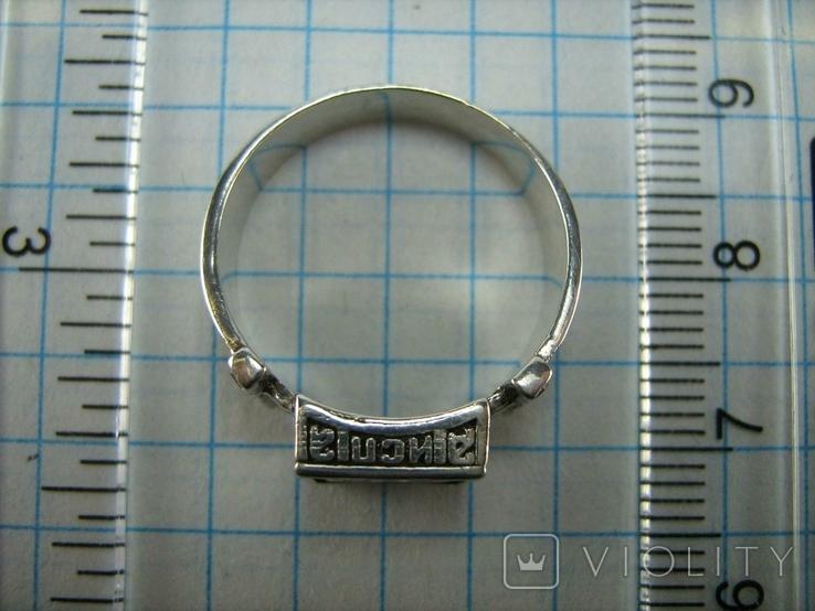 Серебряное Кольцо Перстень Размер 18.0 Проросший Крест Молитва Камни 925 проба Серебро 961, фото №5