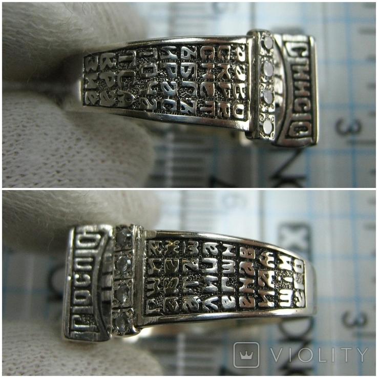 Серебряное Кольцо Перстень Размер 18.0 Проросший Крест Молитва Камни 925 проба Серебро 961, фото №6