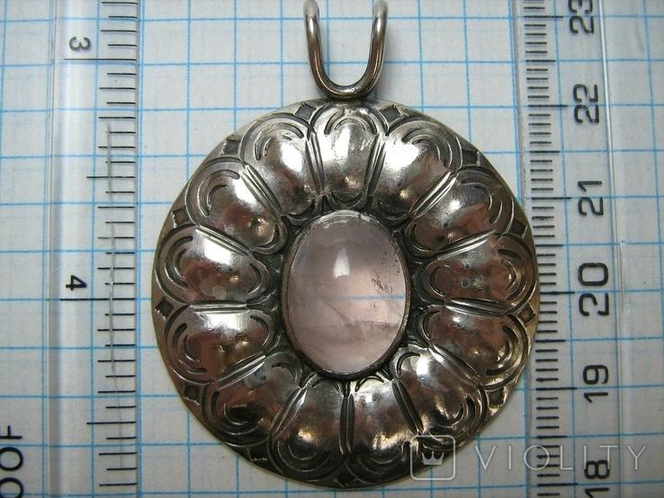 Серебряный Кулон Подвеска Натуральный Розовый Кварц Крупный Большой Серебро 925 проба 269, фото №4