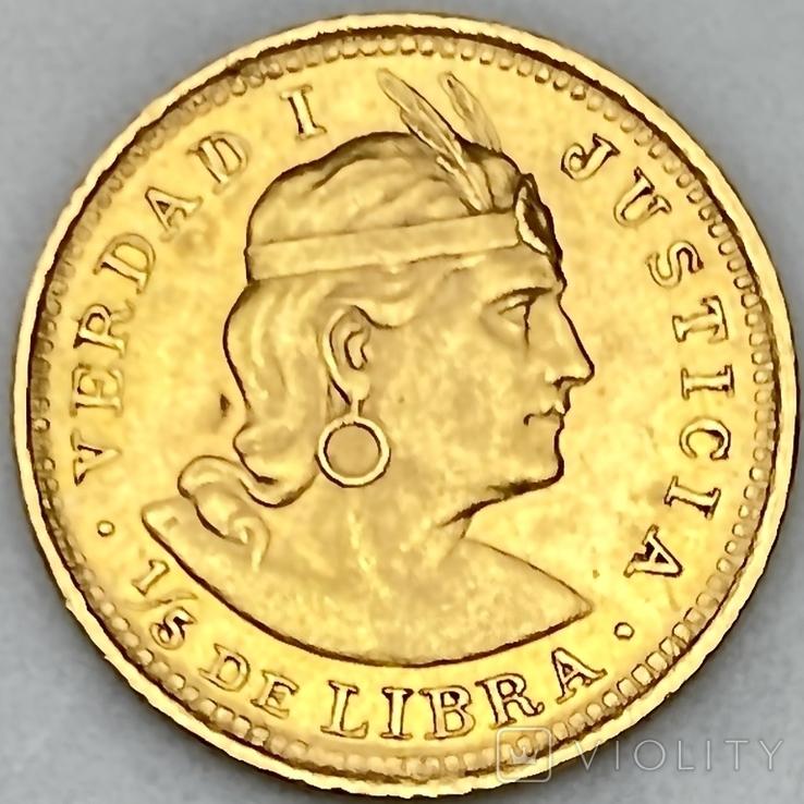 1/5 либры. 1906. Перу (золото 917, вес 1,61 г), фото №2