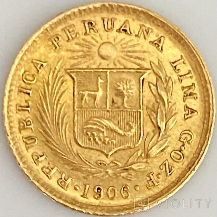 1/5 либры. 1906. Перу (золото 917, вес 1,61 г), фото №3