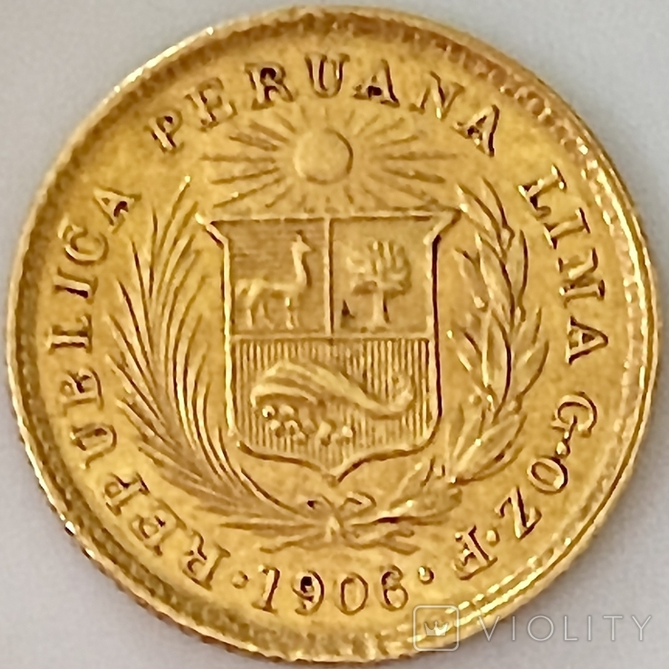 1/5 либры. 1906. Перу (золото 917, вес 1,61 г), фото №4