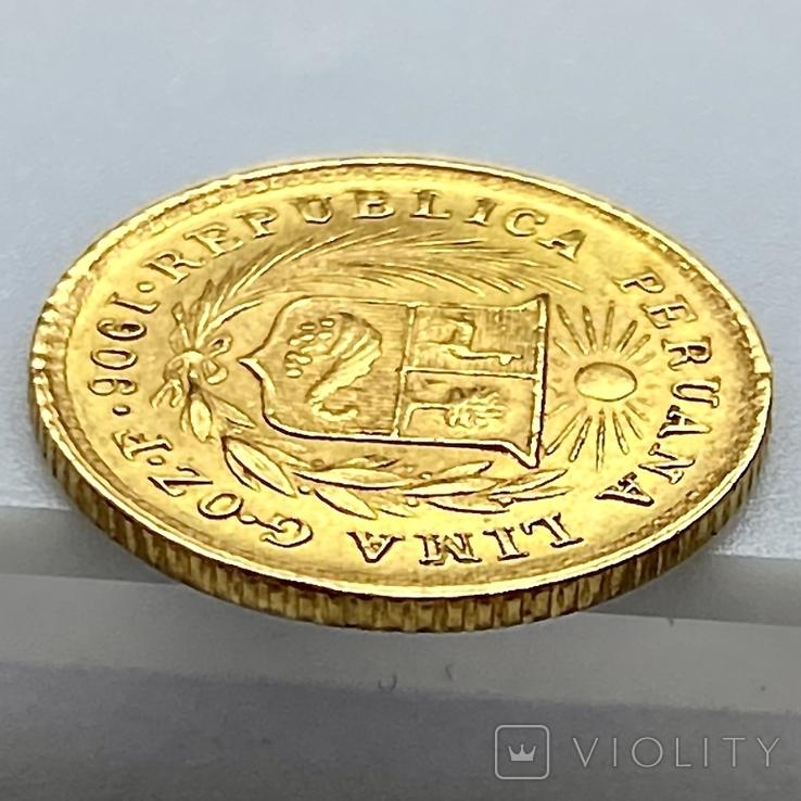 1/5 либры. 1906. Перу (золото 917, вес 1,61 г), фото №9