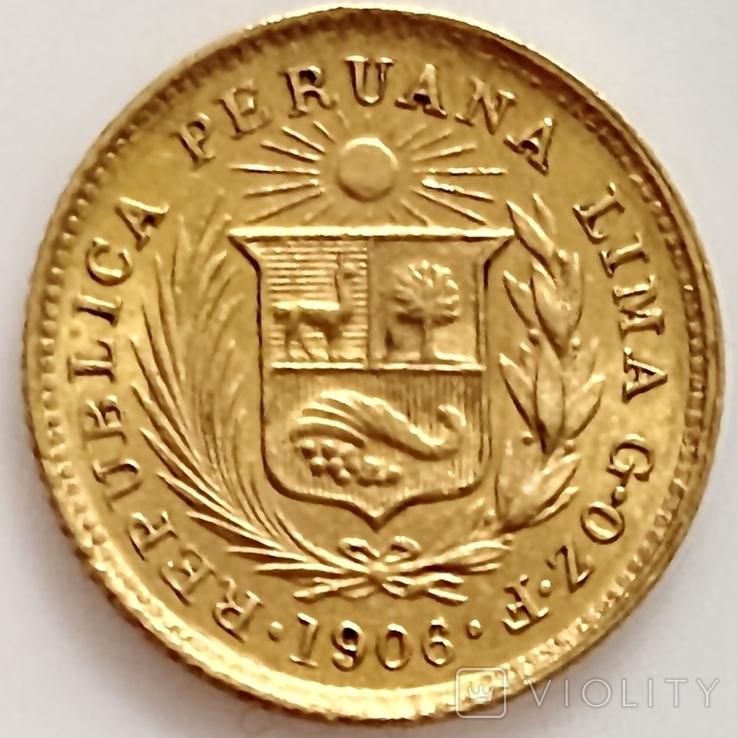 1/5 либры. 1906. Перу (золото 917, вес 1,61 г), фото №12