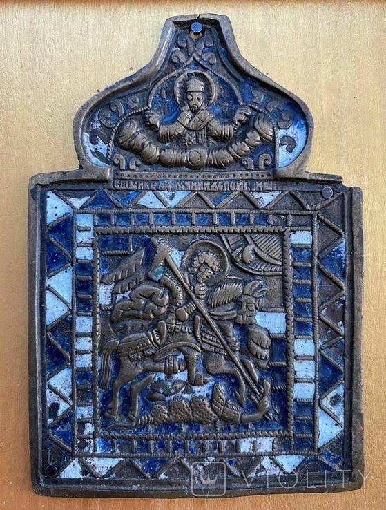 Икона Георгий Победоносец в киоте, фото №5