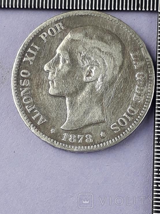 5 песет, Испания, 1878 г., король Альфонсо XII, D.E. .M., серебро 0.900, 25 гр., фото №2