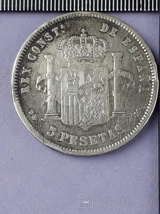 5 песет, Испания, 1878 г., король Альфонсо XII, D.E. .M., серебро 0.900, 25 гр., фото №3