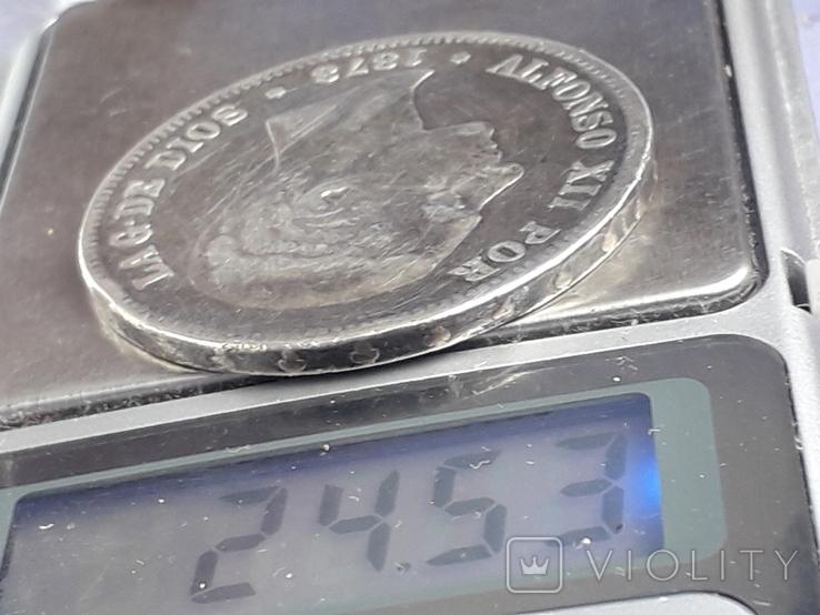 5 песет, Испания, 1878 г., король Альфонсо XII, D.E. .M., серебро 0.900, 25 гр., фото №4