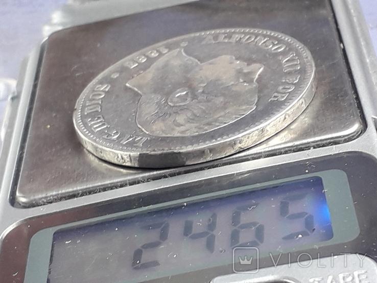 5 песет, Испания, 1883 год, король Альфонсо XII, серебро 0.900, 25 грамм, фото №4
