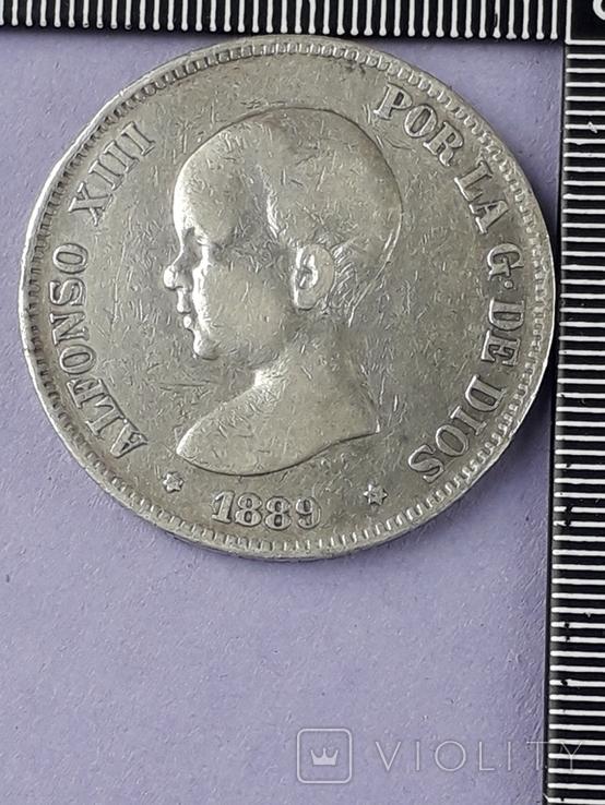 5 песет, Испания, 1889 год, король Альфонсо XIII, серебро 0.900, 25 грамм, фото №2
