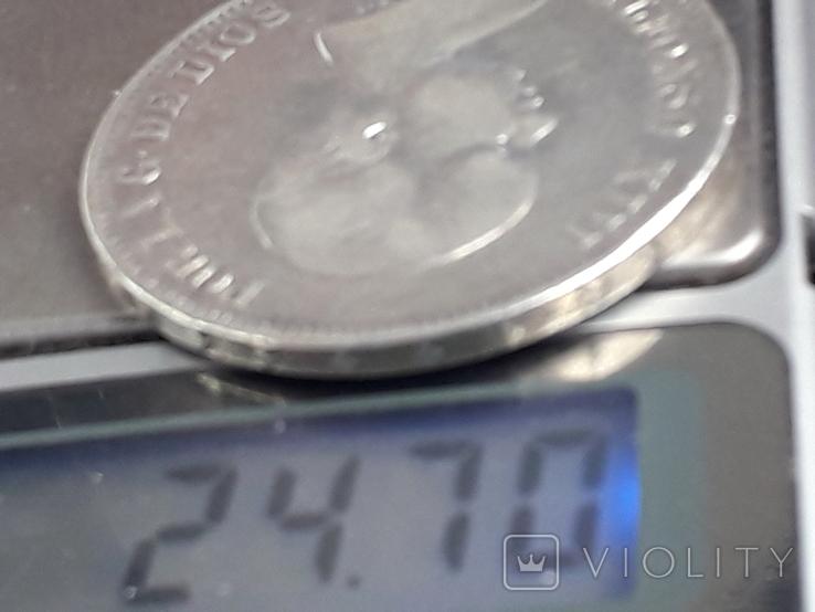 5 песет, Испания, 1889 год, король Альфонсо XIII, серебро 0.900, 25 грамм, фото №4