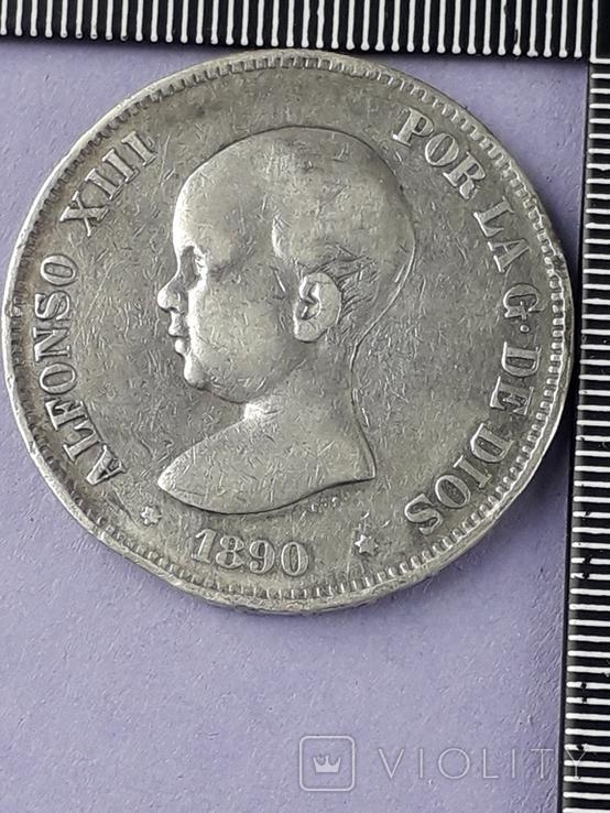 5 песет, Испания, 1890 год, король Альфонсо XIII, М.Р..М, серебро 0.900, 25 грамм, фото №2