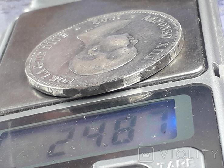 5 песет, Испания, 1892 год, король Альфонсо XIII, серебро 0.900, 25 грамм, фото №4