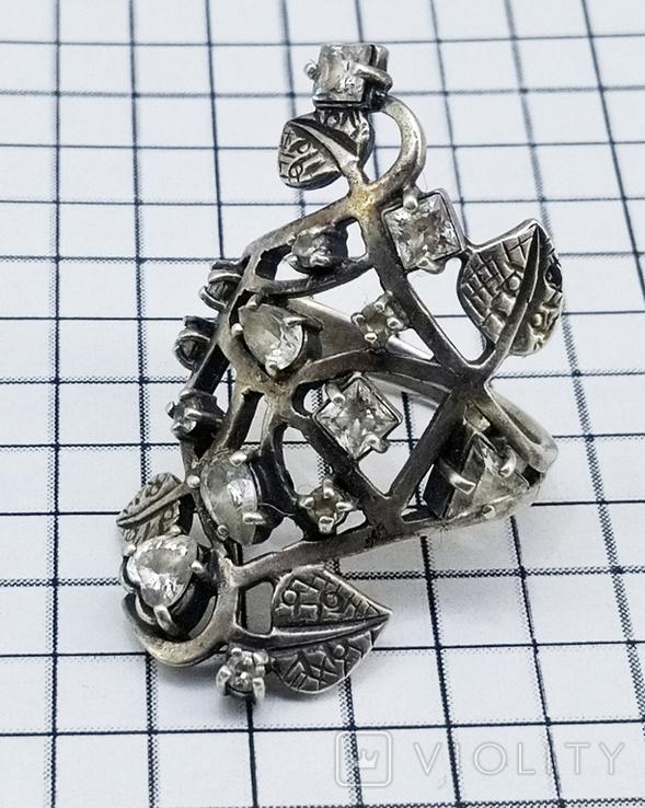 Перстень Серебро 7 грамм, горный хрусталь. СССР., фото №2