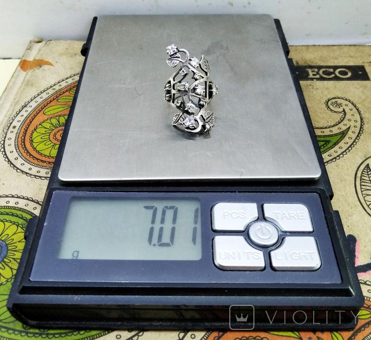 Перстень Серебро 7 грамм, горный хрусталь. СССР., фото №6