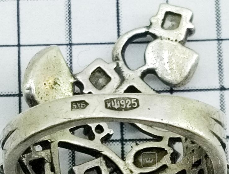 Перстень Серебро 7 грамм, горный хрусталь. СССР., фото №7