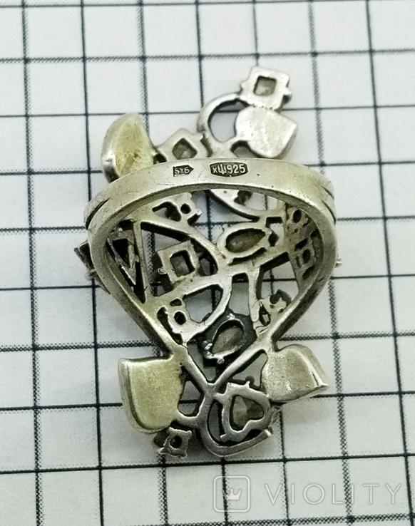Перстень Серебро 7 грамм, горный хрусталь. СССР., фото №8