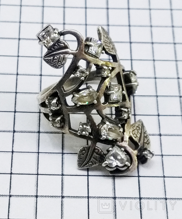 Перстень Серебро 7 грамм, горный хрусталь. СССР., фото №10