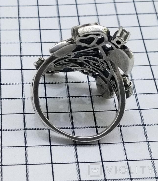 Перстень Серебро 7 грамм, горный хрусталь. СССР., фото №11