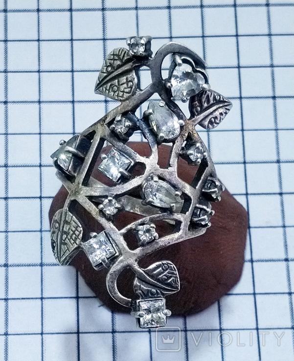 Перстень Серебро 7 грамм, горный хрусталь. СССР., фото №12