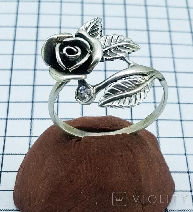 Кольцо серебряная роза с фианитом, 925 советских времен., фото №2
