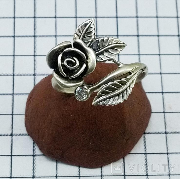 Кольцо серебряная роза с фианитом, 925 советских времен., фото №6