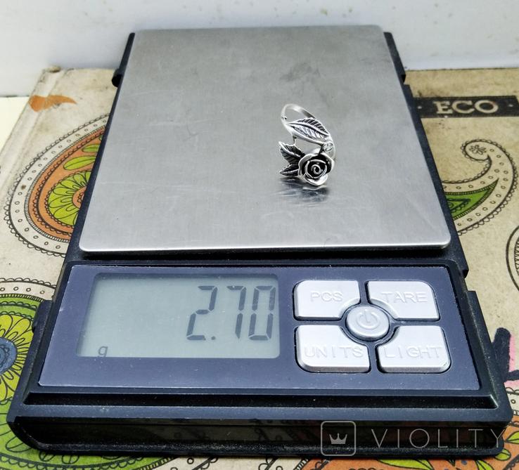 Кольцо серебряная роза с фианитом, 925 советских времен., фото №11