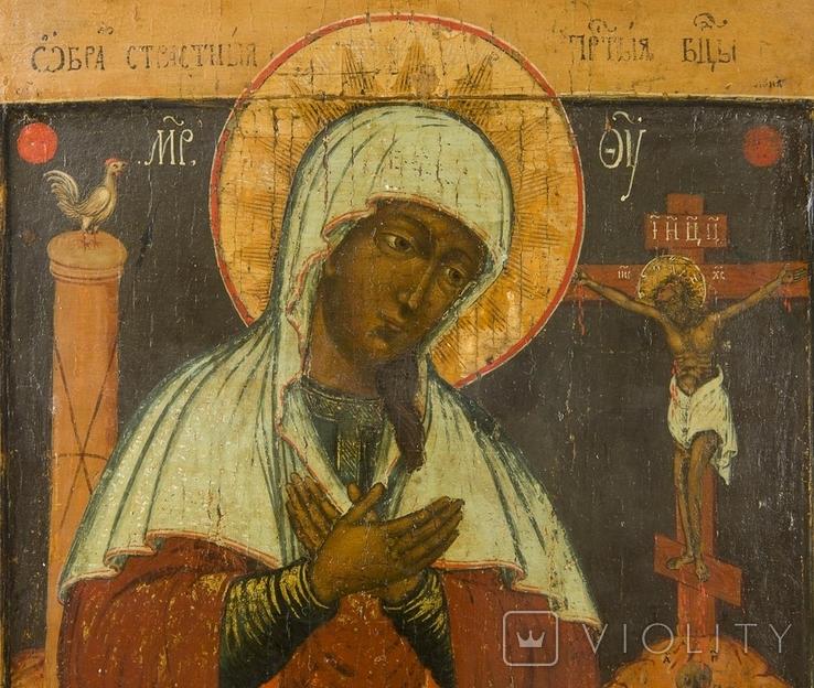 Богородица Страстная, двухковчежная, XVIIв, рубеж, фото №3