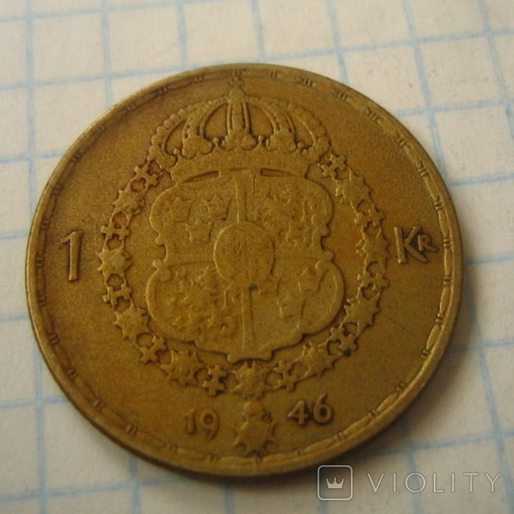Швеция 1 крона, 1946, фото №7