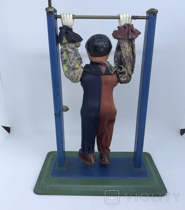 Механическая игрушка СССР клоун на перекладине, фото №8