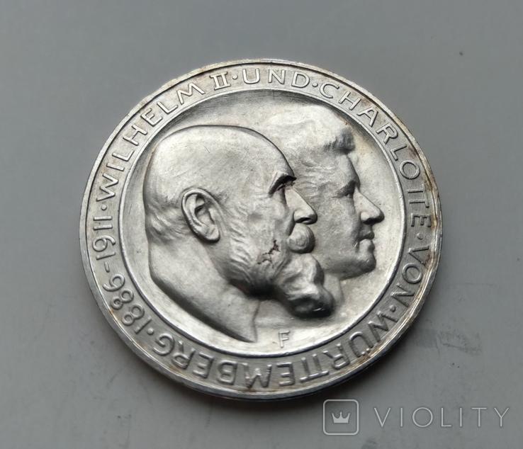 3 марки 1911 Вюртемберг 25-річчя Весілля Вільгельма II, фото №2
