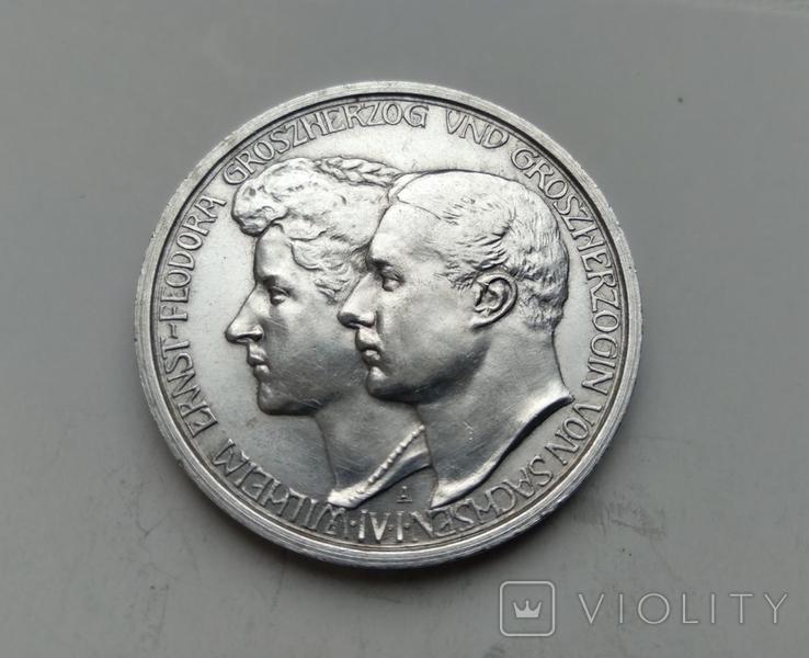 3 марки 1910 Саксен-Веймар-Eйзенах, Весілля Вільгельма та Феодори, фото №2
