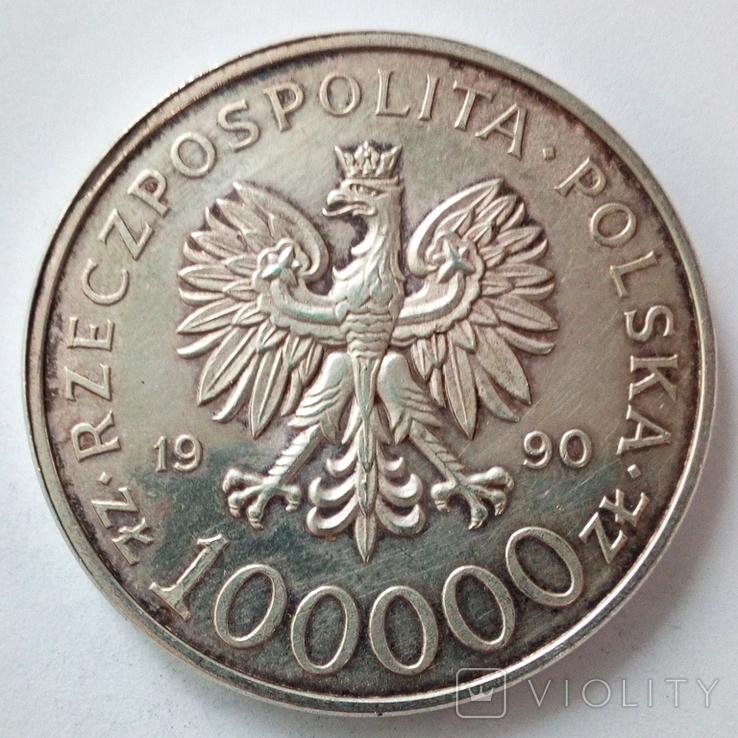 100000 злотых 1990 г. Солидарность, фото №5