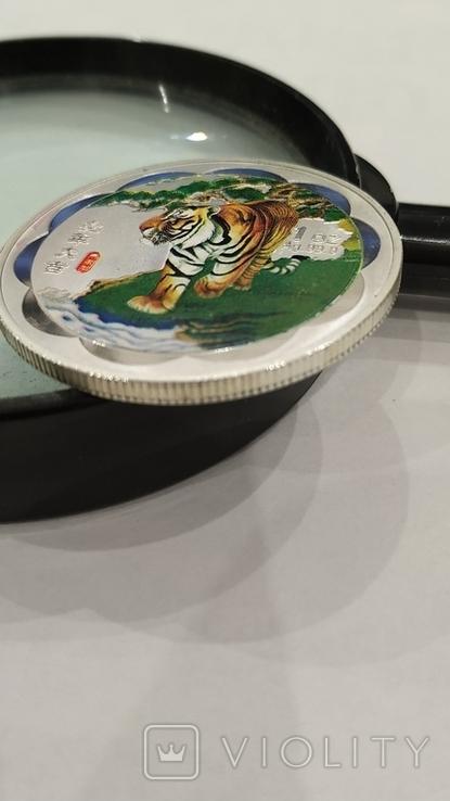 10 Юань 2010г. Год тигра в цвете. Китай. посеребрение., фото №5