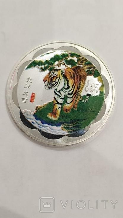 10 Юань 2010г. Год тигра в цвете. Китай. посеребрение., фото №11