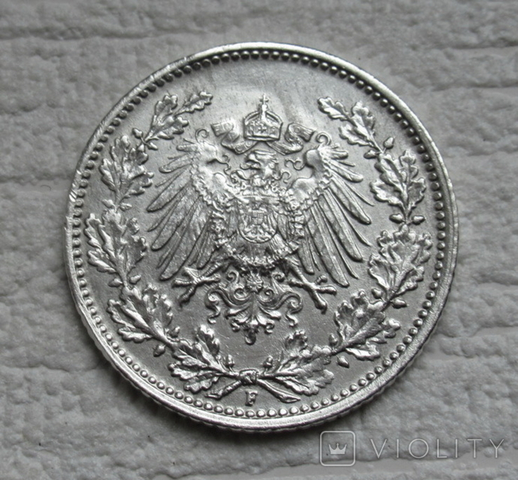 1/2 марки 1919 г. (F) Германия, серебро (№2), фото №5