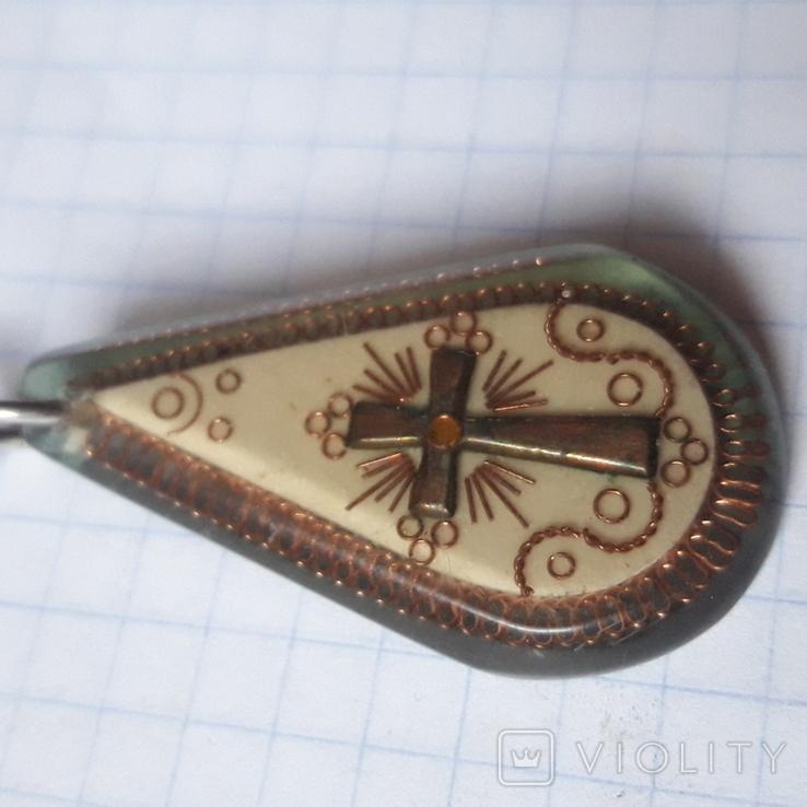 Винтажные брелок с крестом. Ручная работа ИТК, фото №5
