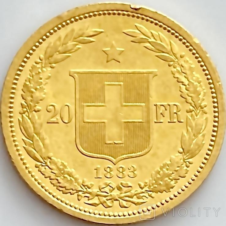 20 франков. 1883. Гельветика. Швейцария (золото 900, вес 6,46 г), фото №3