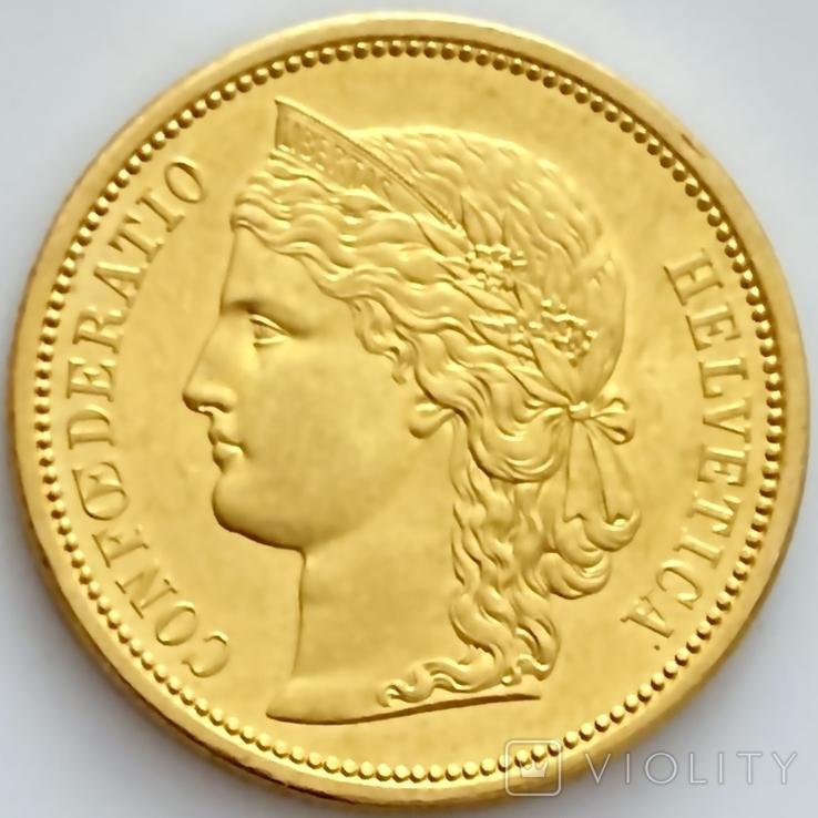 20 франков. 1883. Гельветика. Швейцария (золото 900, вес 6,46 г), фото №4