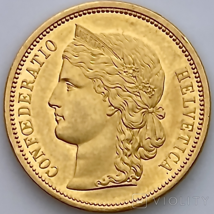 20 франков. 1883. Гельветика. Швейцария (золото 900, вес 6,46 г), фото №6