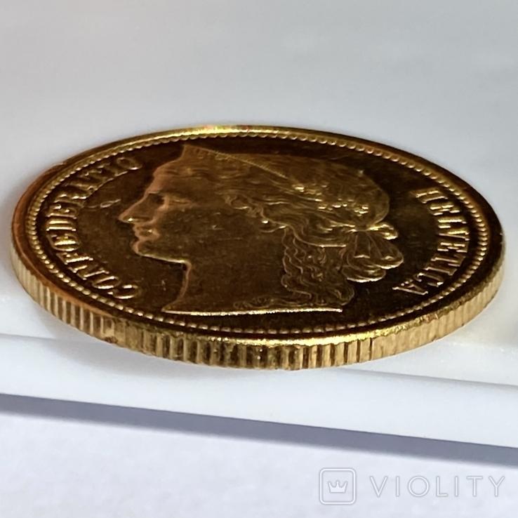 20 франков. 1883. Гельветика. Швейцария (золото 900, вес 6,46 г), фото №11