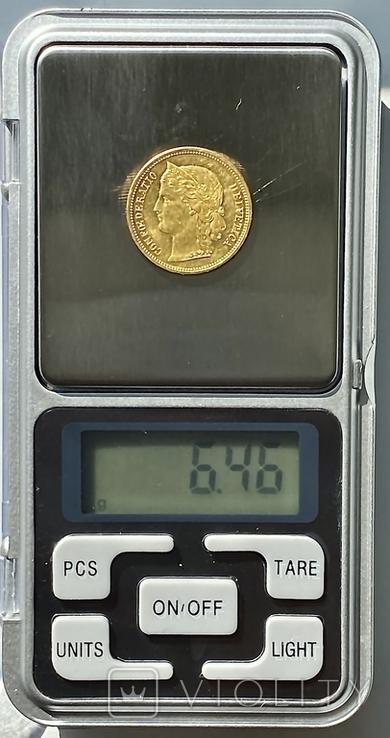 20 франков. 1883. Гельветика. Швейцария (золото 900, вес 6,46 г), фото №13
