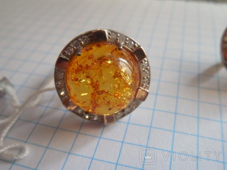 Кольцо и серьги с янтарем 925 проба, фото №3