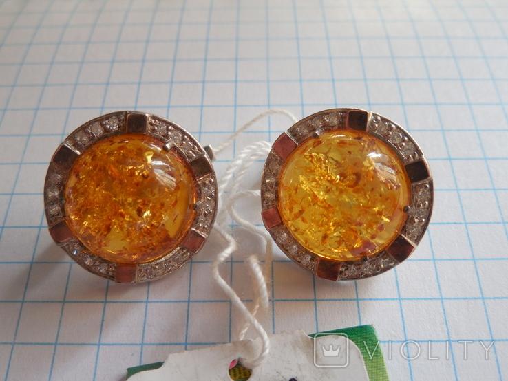 Кольцо и серьги с янтарем 925 проба, фото №4