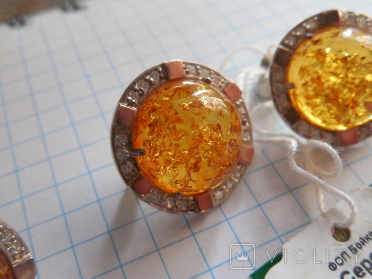 Кольцо и серьги с янтарем 925 проба, фото №5