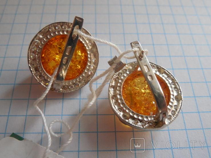 Кольцо и серьги с янтарем 925 проба, фото №9