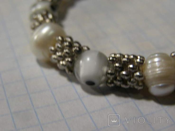 Браслет стеклянные бусины жемчужины, фото №5
