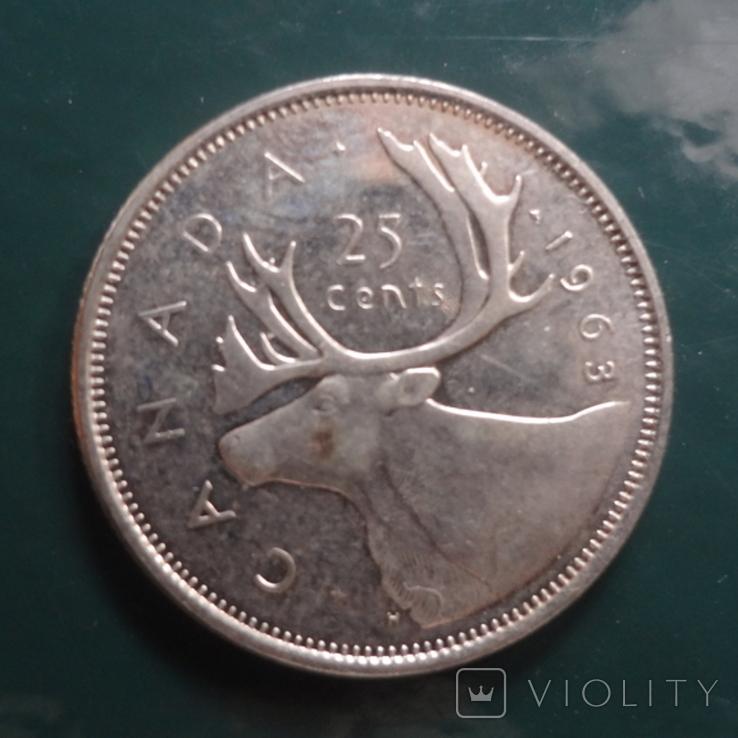 25 центов 1963 Канада серебро (11.4.1)~, фото №2